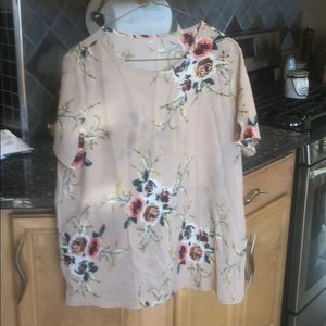 Tops - Polyester floral print short sleeve blouse